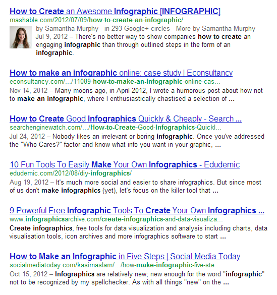Google Search results for [how to make an infographic]