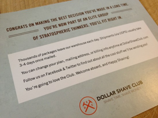 Back of Dollar Shave Club's postcard