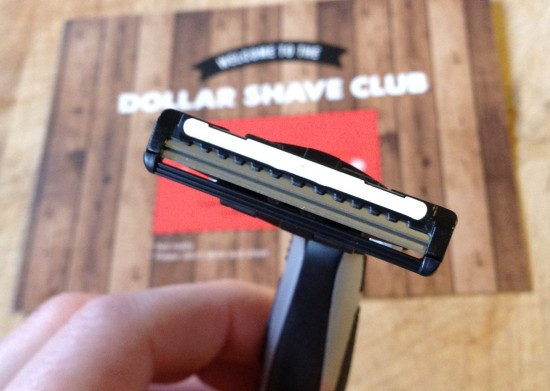 Close-up of the Dorco razor blade in the Dollar Shave Club handle