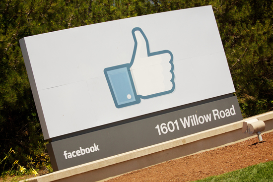 The welcome sign at Facebook corporate HQ in Menlo Park, CA. Photo © Marcin Wichary