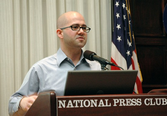 Jonathon Colman speaking about social media at the National Press Club in Washington, DC. Photo © Forum One.