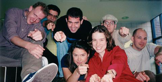 The Tilt improv comedy ensemble, circa 2001 in Ann Arbor, Michigan. Photo © Jonathon Colman