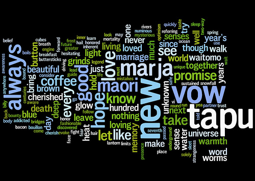 Visualization of word frequency in my wedding vows (version 1))