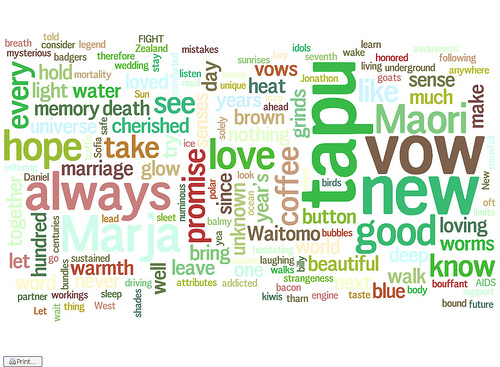 Visualization of word frequency in my wedding vows (version 2)